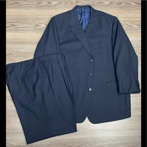 Oxxford Clothes Navy Pinstripe Suit 48S Short
